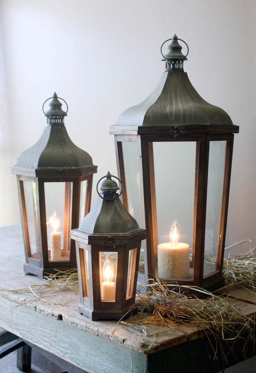 Wood & Galvanized Metal Lanterns - Set of 3