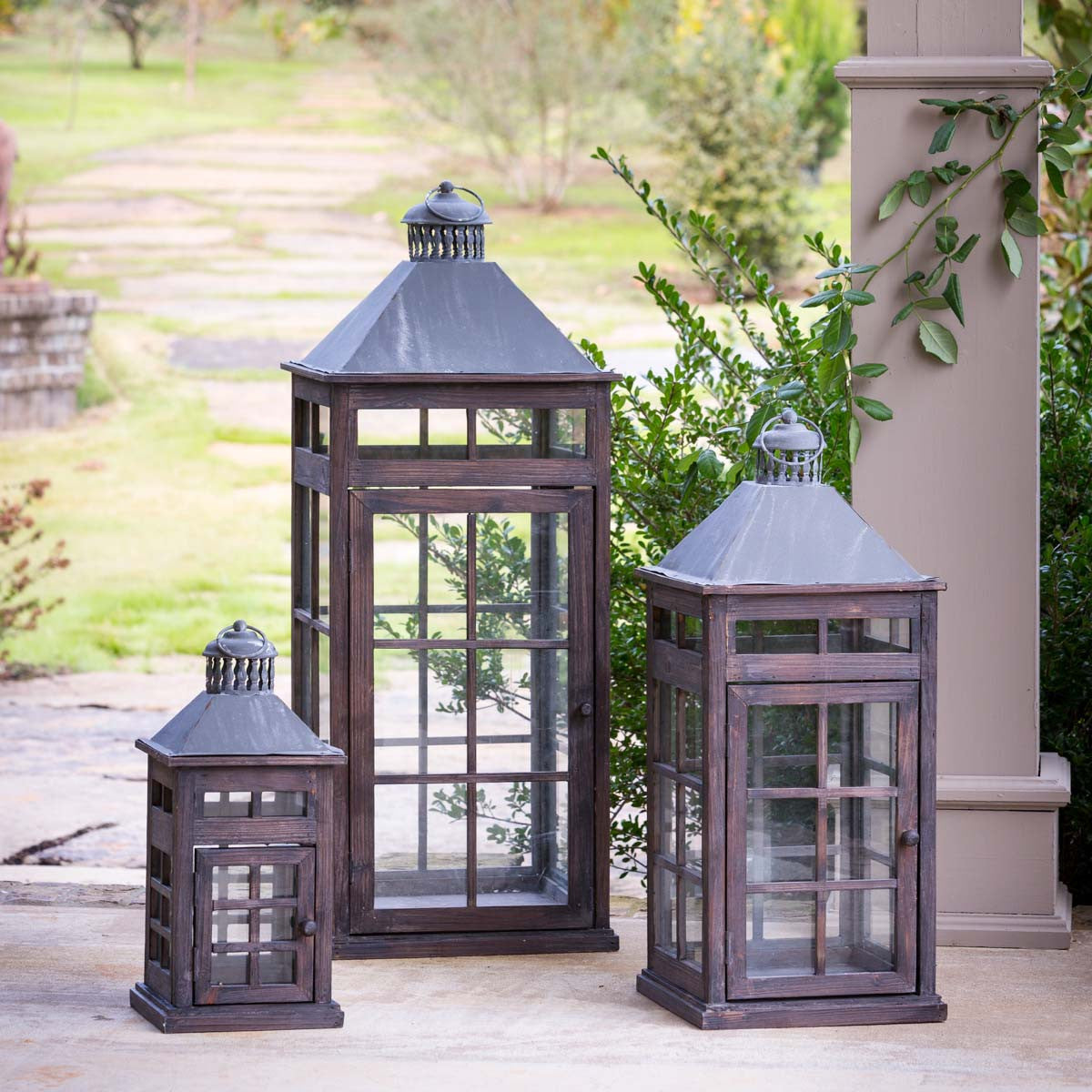 Transom Window Lanterns - Set of 3