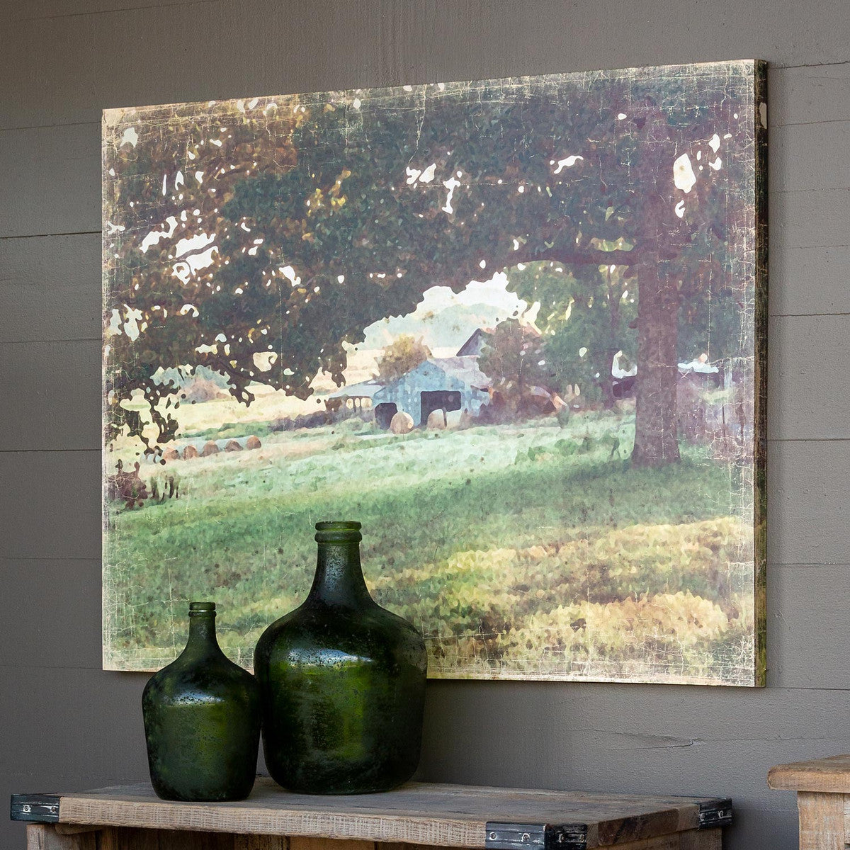 Distressed Watercolor Barn Print On Canvas