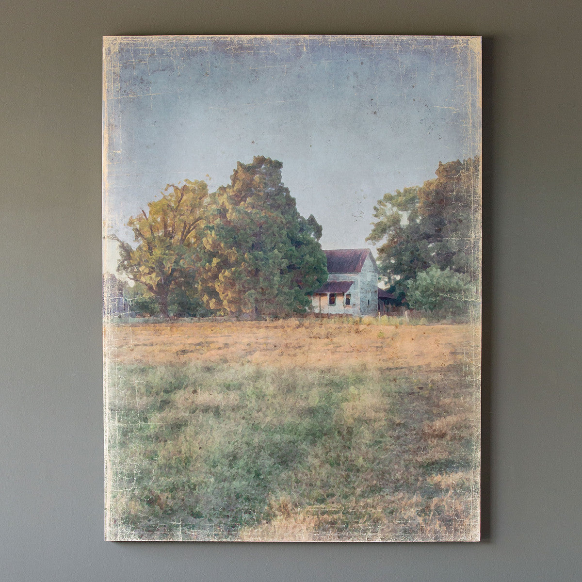 Distressed Watercolor Homestead Print On Canvas