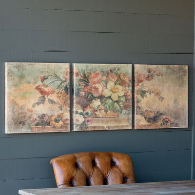 Vintage Floral Triptych Print On Canvas - Set of 3
