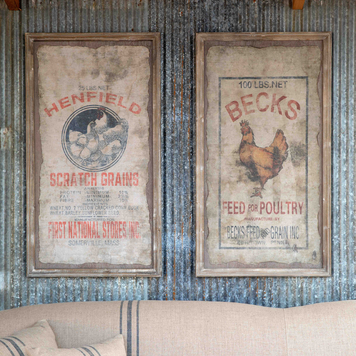 Framed Becks Poultry Seed/Henfield Signs, 2 Assorted Styles