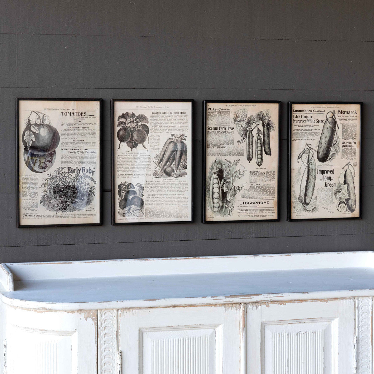 Seed Catalog Framed Prints - 4 Assorted Styles