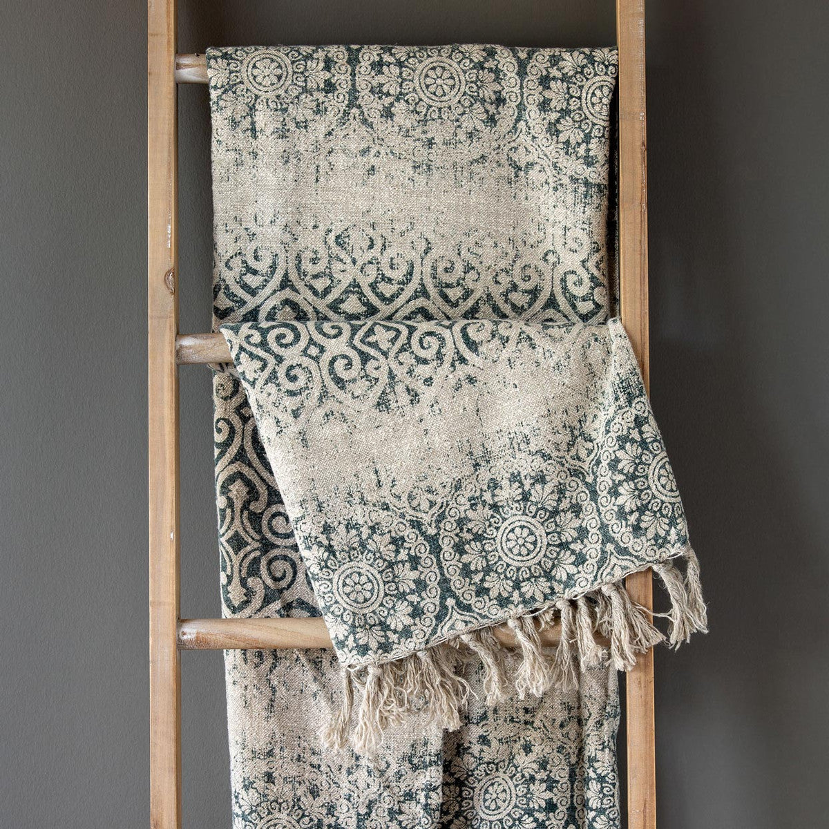 Indigo Vintage Printed Linen Throw