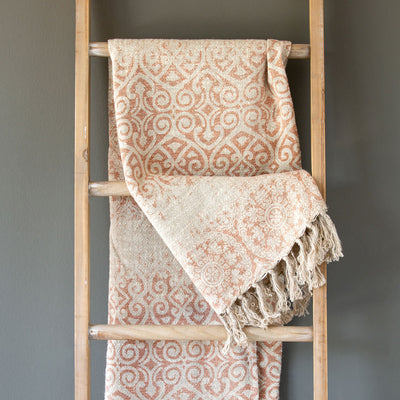 Faded Coral Vintage Printed Linen Throw