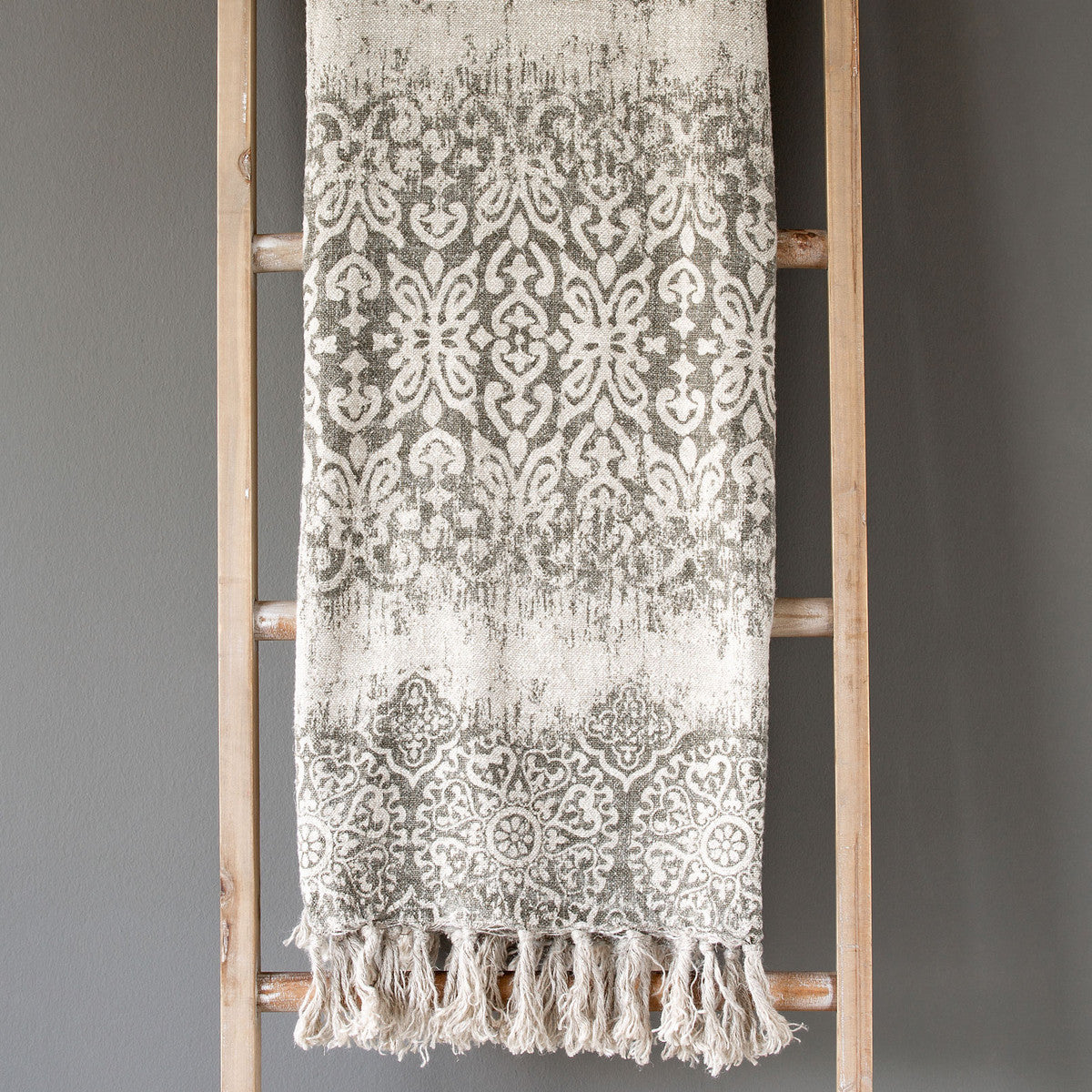 Soft Grey Vintage Printed Linen Throw