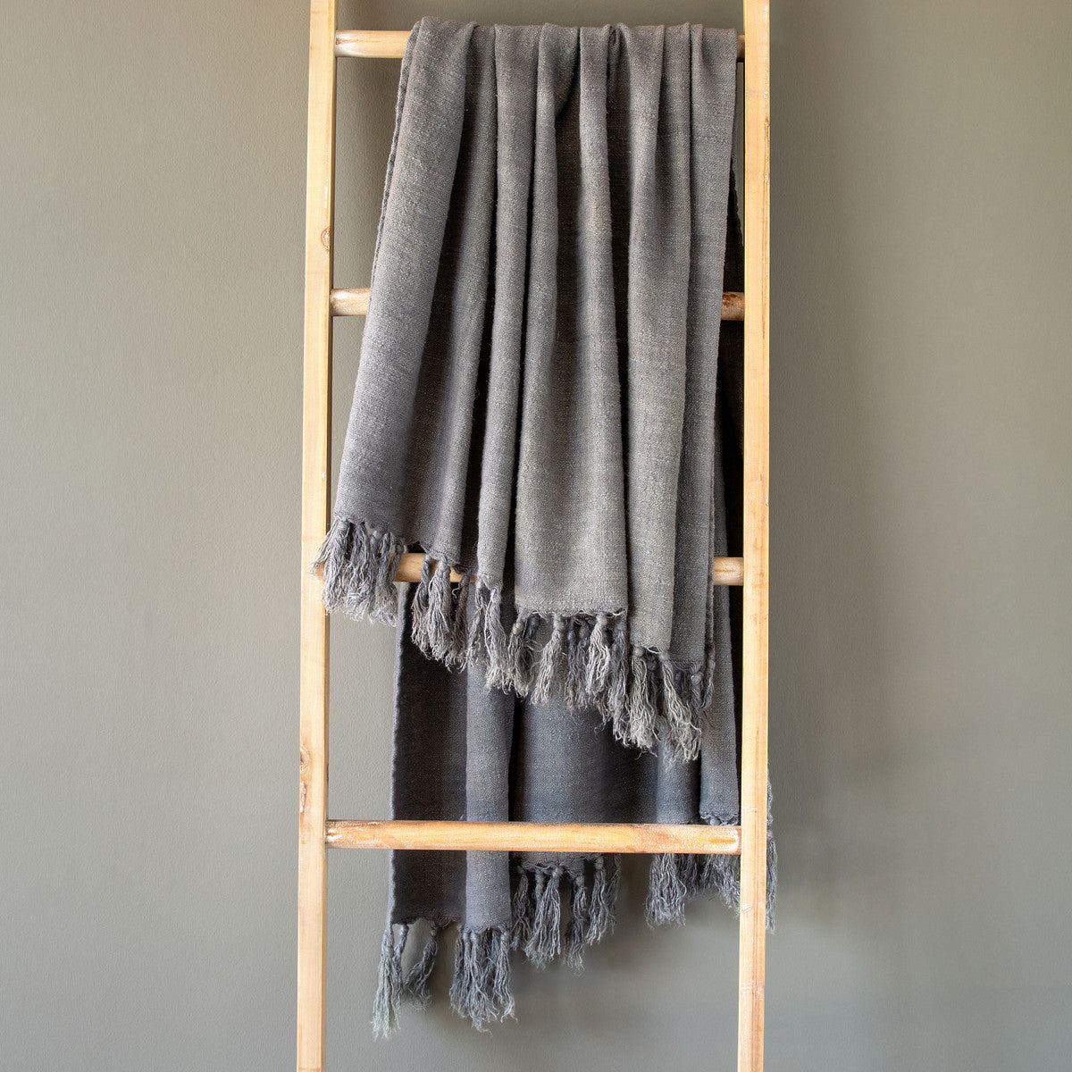 Grey Washed Linen Throw