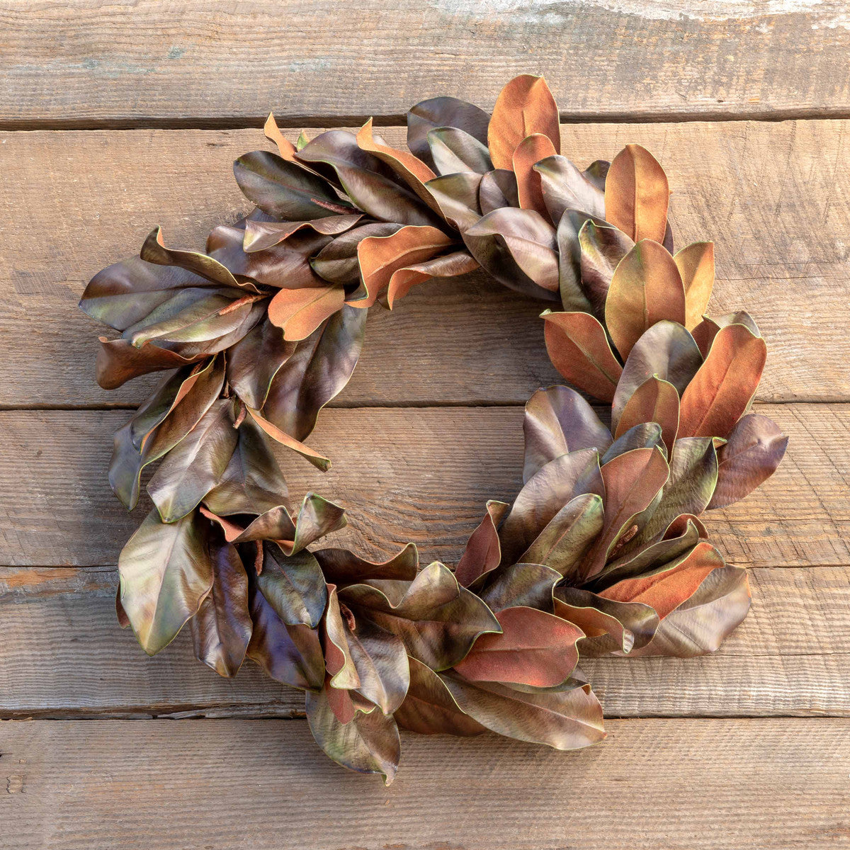Bronzed Magnolia Leaf Wreath