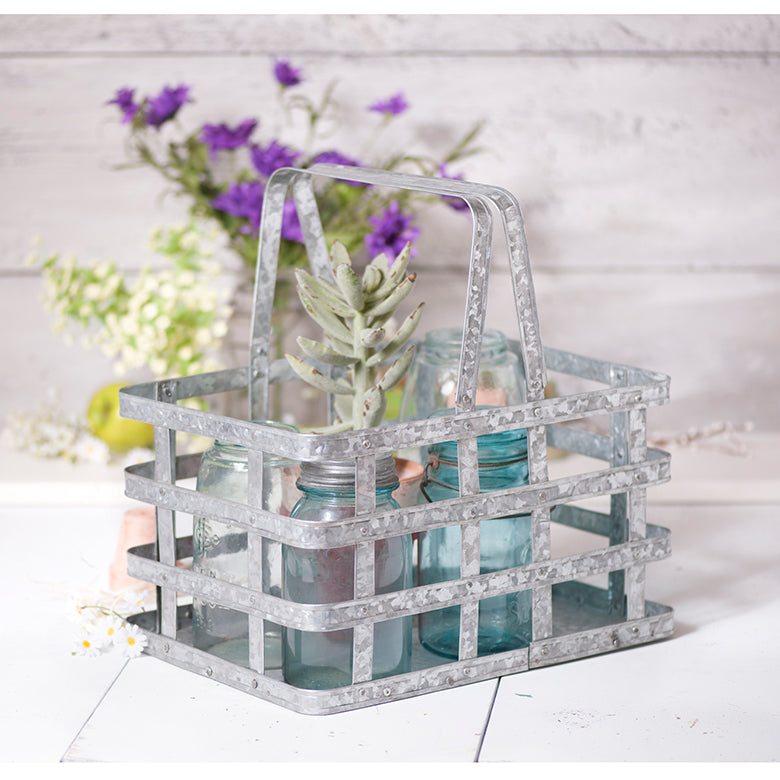 Charming Galvanized Farmhouse Basket