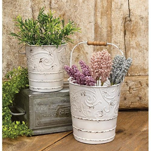 Chippy Scrolled Metal Buckets - Set of 2