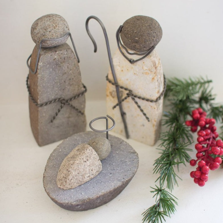 River Rock Nativity Display - Set of 3