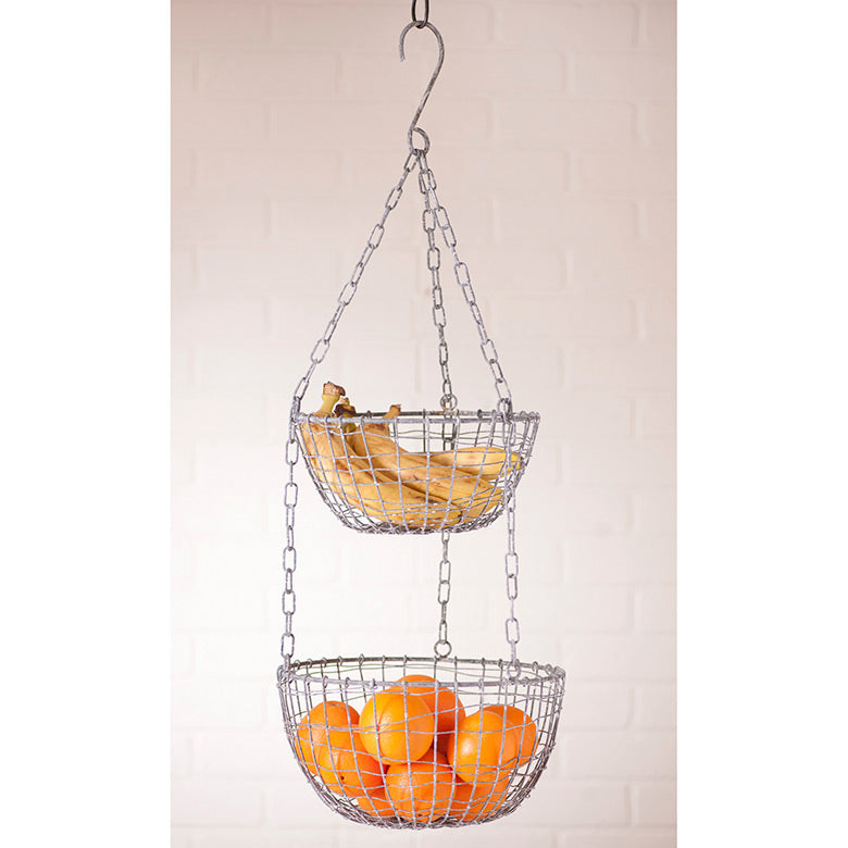 Hanging Two Tier Wire Fruit Baskets