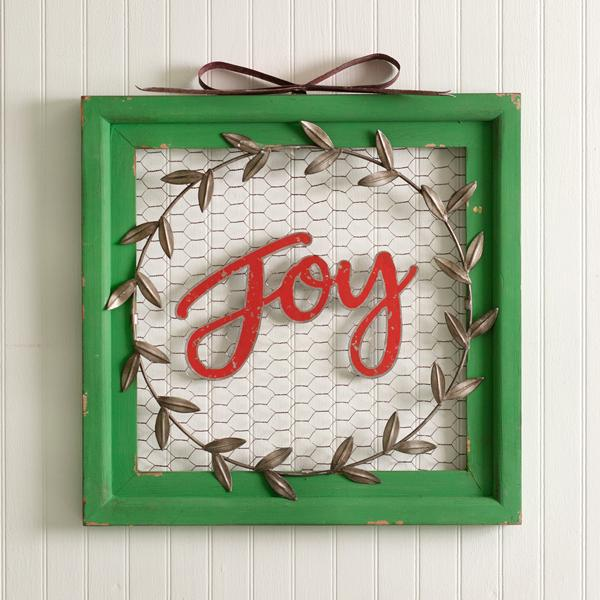 Joy Wreath Chicken Wire Wall Sign
