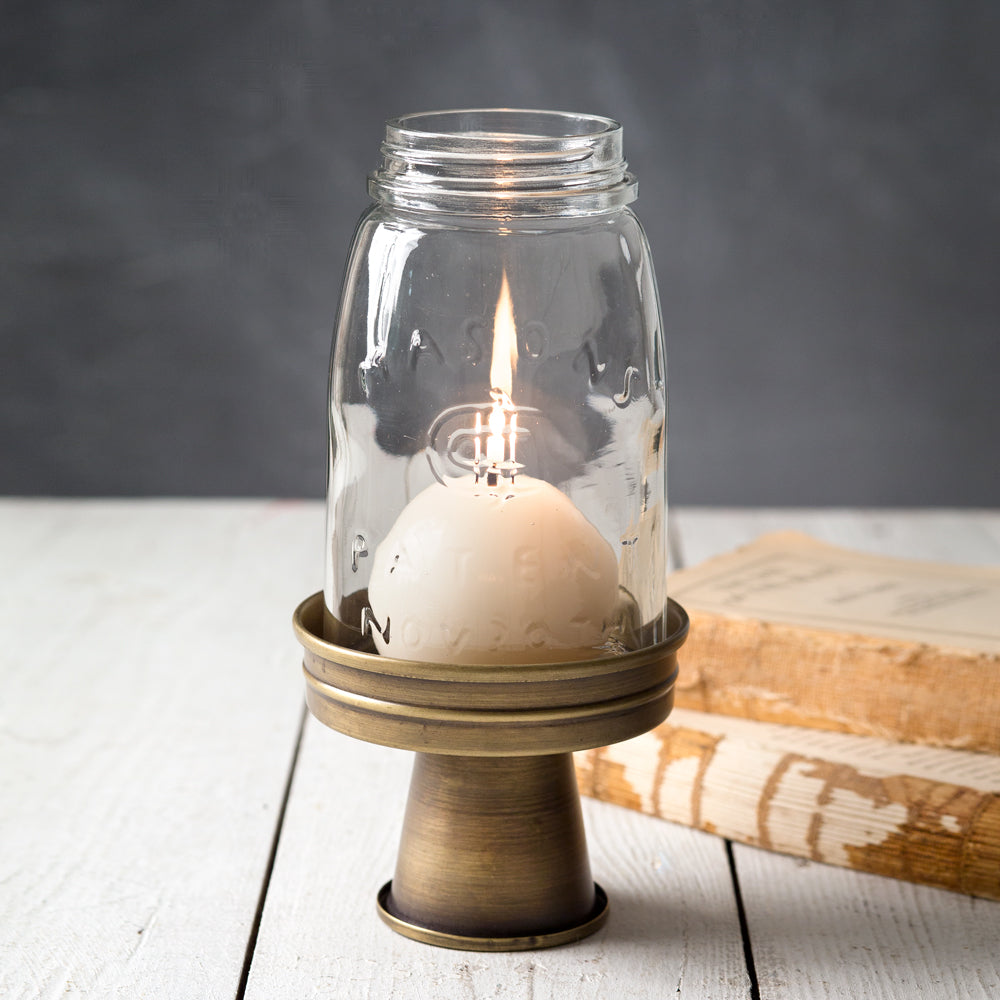 Antique Brass Mason Jar Candle Lantern