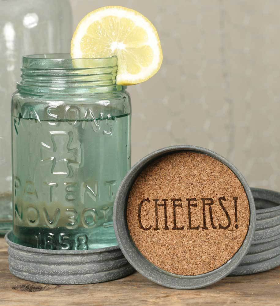 Set of 4 Mason Jar Cheers Lid Coasters