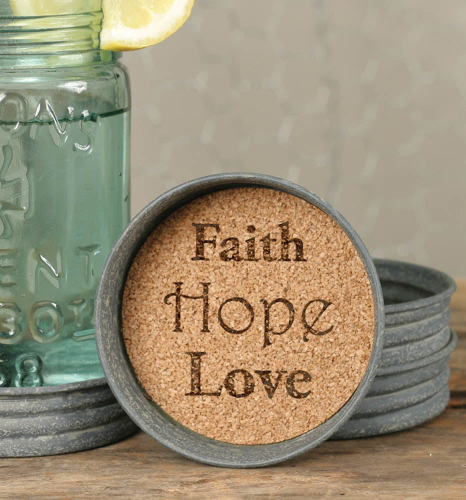 Set of 4 Mason Jar Faith Hope Love Lid Coasters