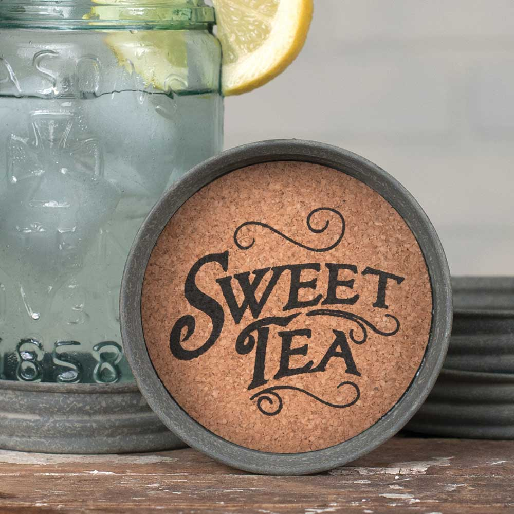 Set of 4 Mason Jar Sweet Tea Lid Coasters