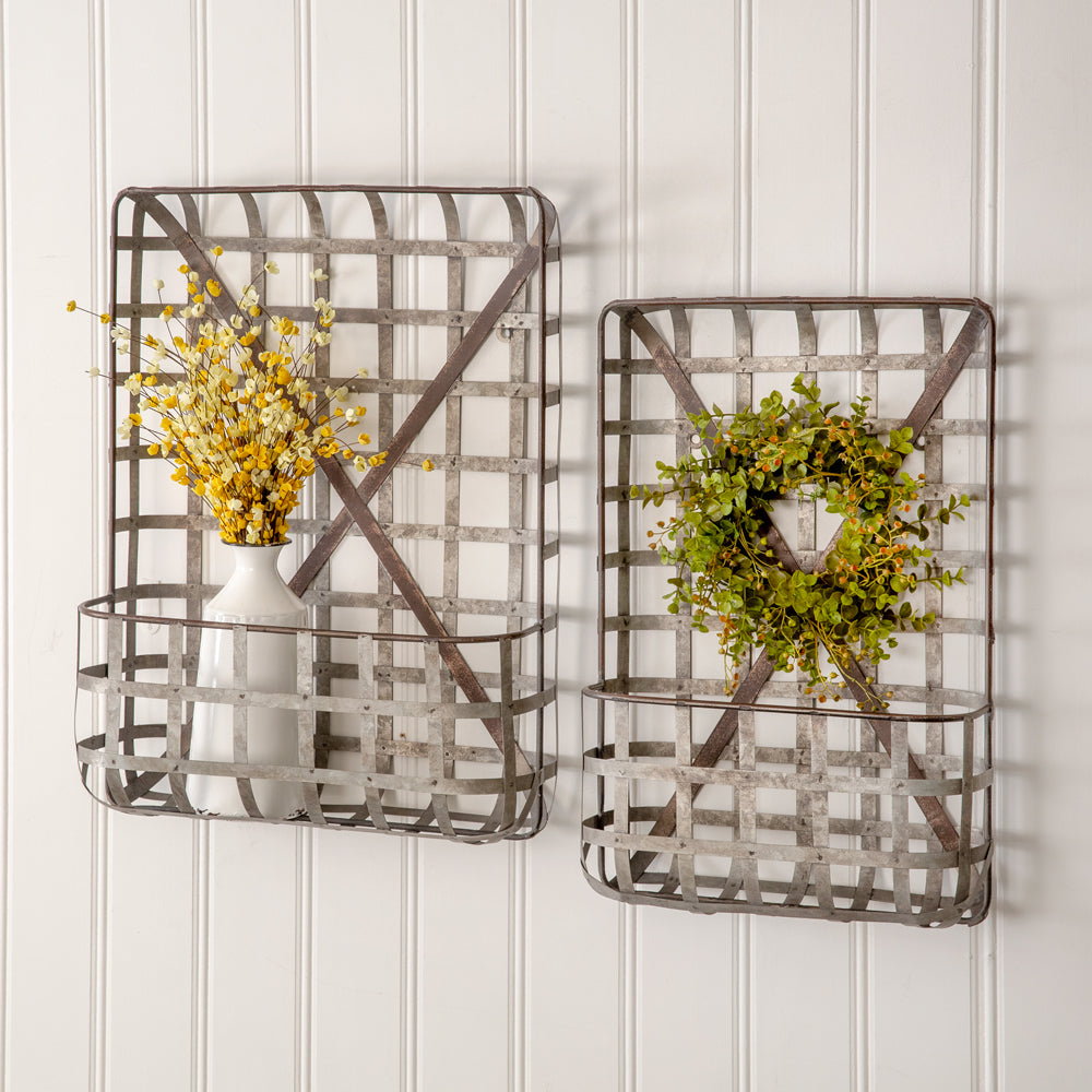 Charming Farmhouse Metal Tobacco Wall Pocket Baskets