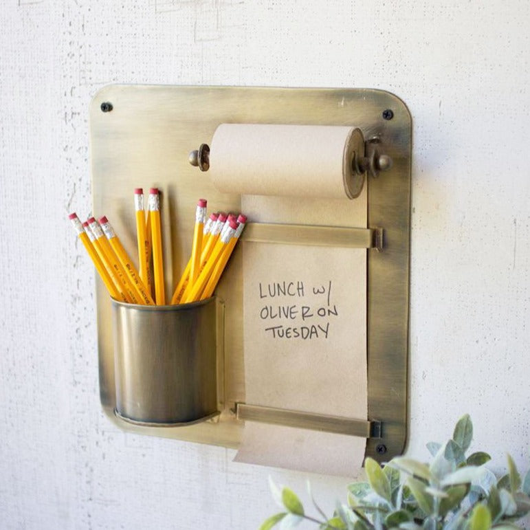 Brass Notepad with Pencil Cup Organizer