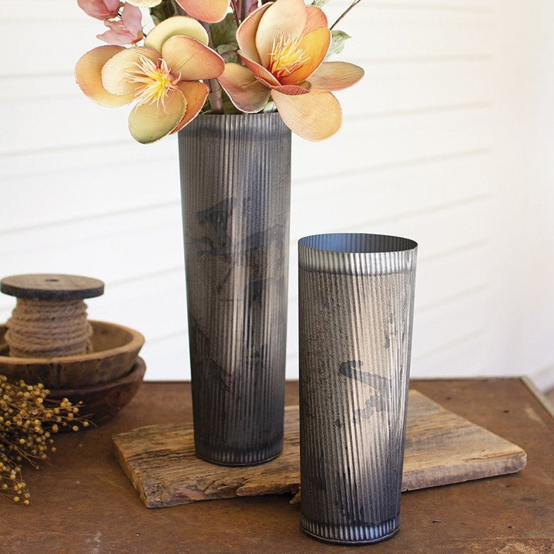 Gun Barrel Finish Metal Vase - Set of 2