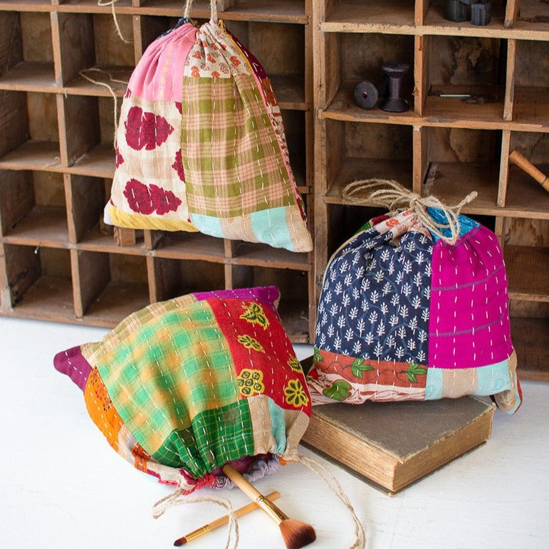 Kantha Patchwork Bags - Set of 3