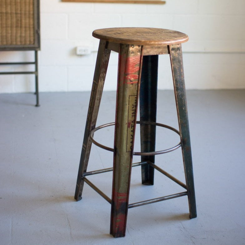 Reclaimed Metal Bar Stool