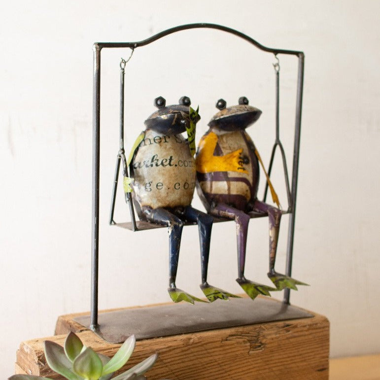 Rustic Swinging Metal Frogs