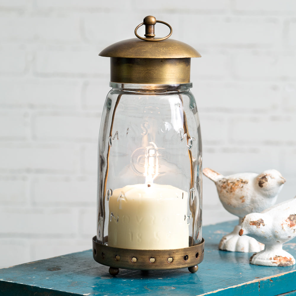 Quart Mason Jar Lantern in Antique Brass