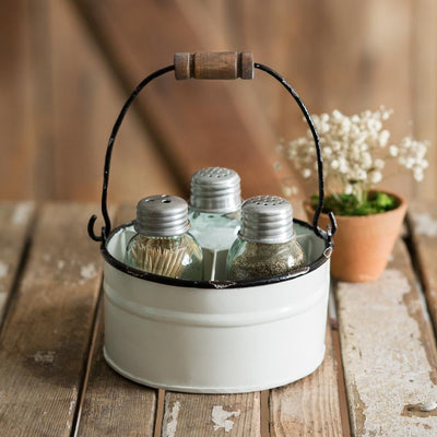 Lovely Vintage White Salt, Pepper and Toothpick Caddy