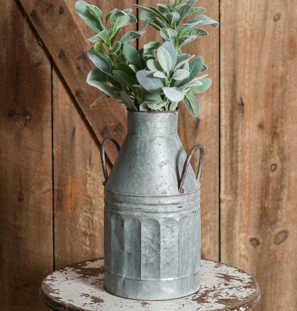 Tall Galvanized Milk Jug