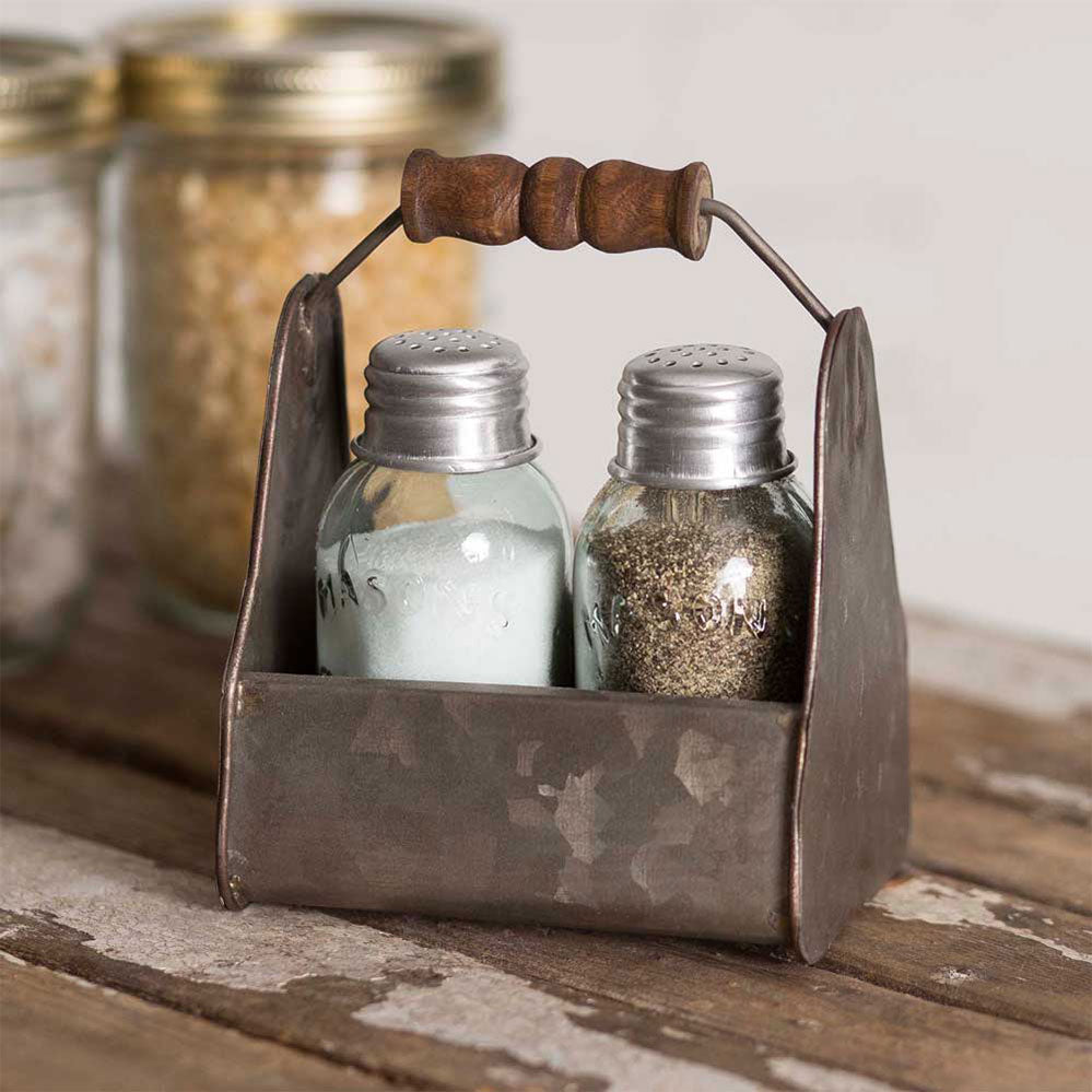 Two Sets - Rustic Tiny Toolbox Salt & Pepper Caddies