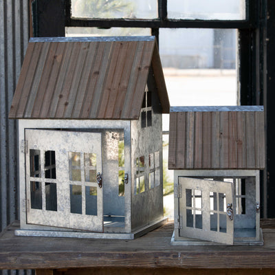 Wooden Roof Christmas Cottages - Set of 2