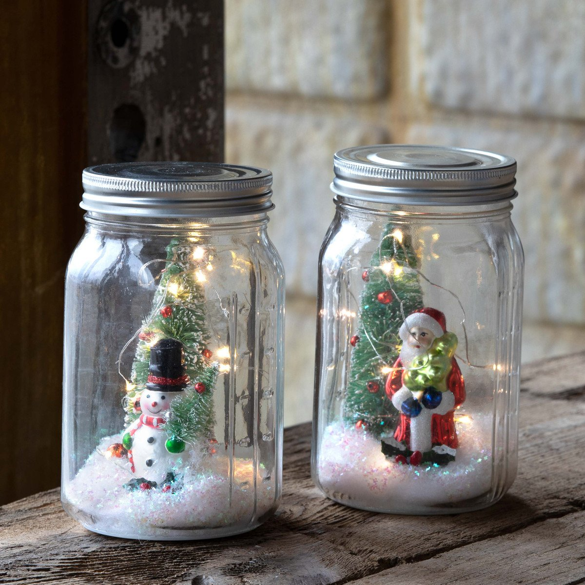 Snowman and Santa Lighted Filled Canning Jar - Set of 2 Assorted Styles