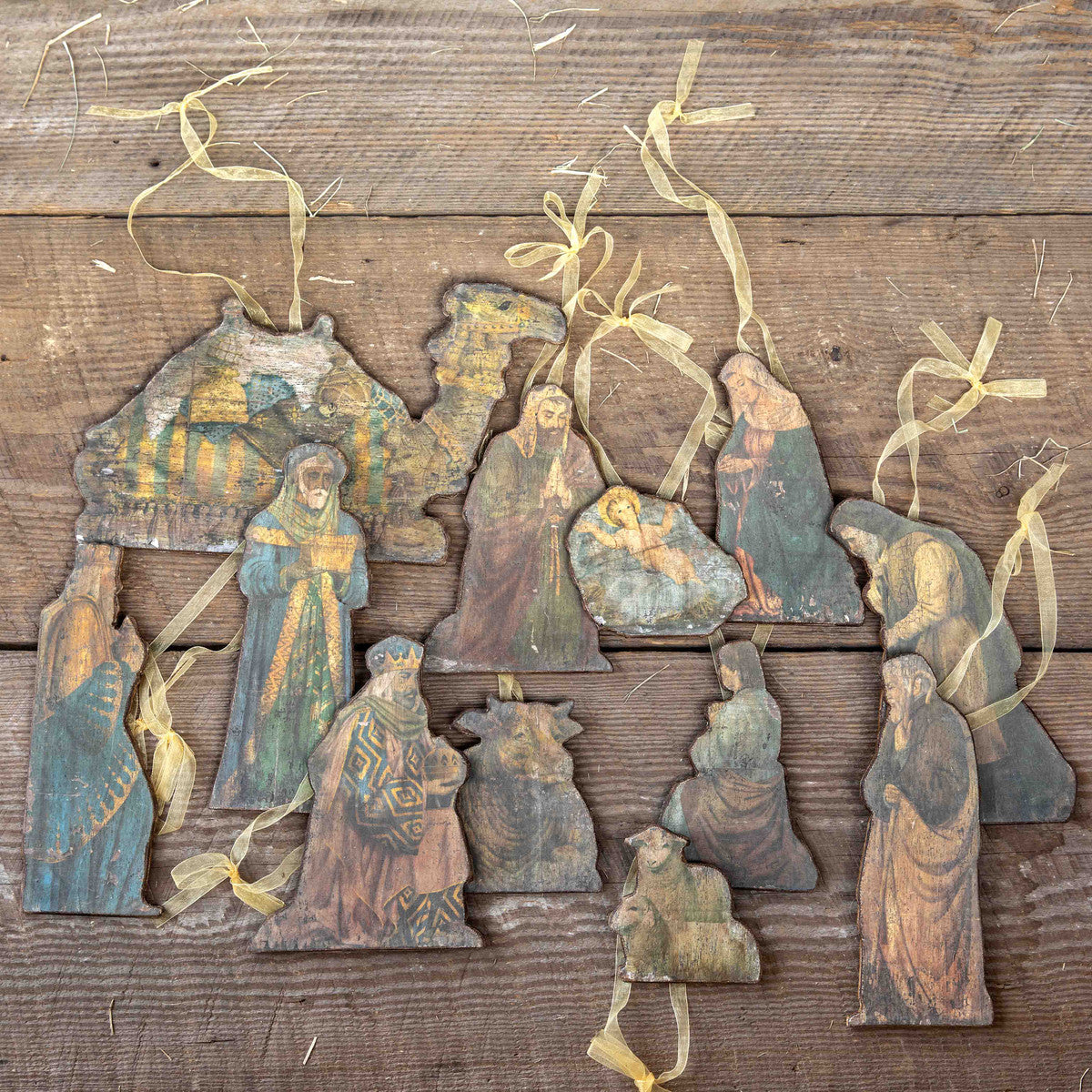 Antique Wood Nativity Ornaments - Set of 12