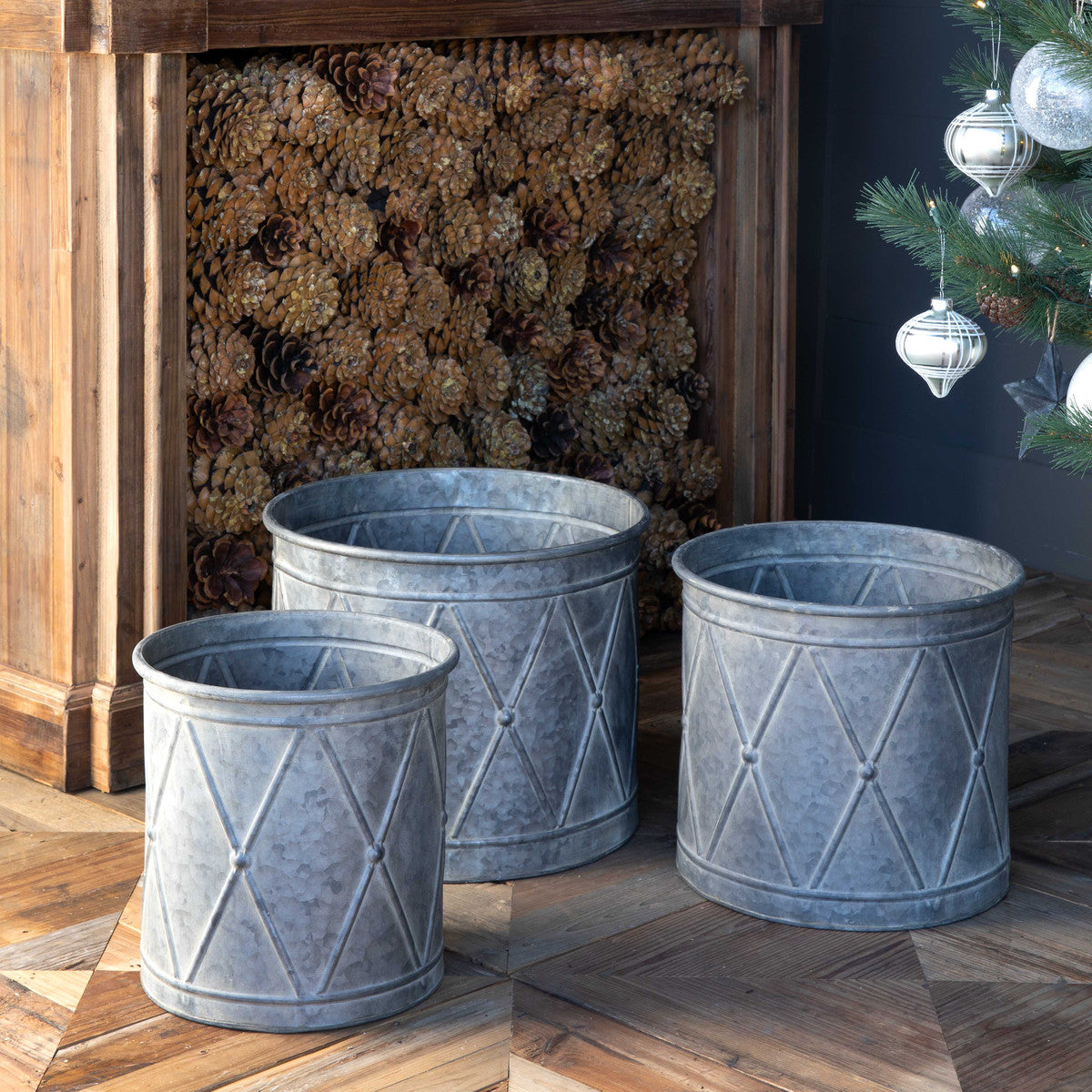 Metal Drum Planters - Set of 3