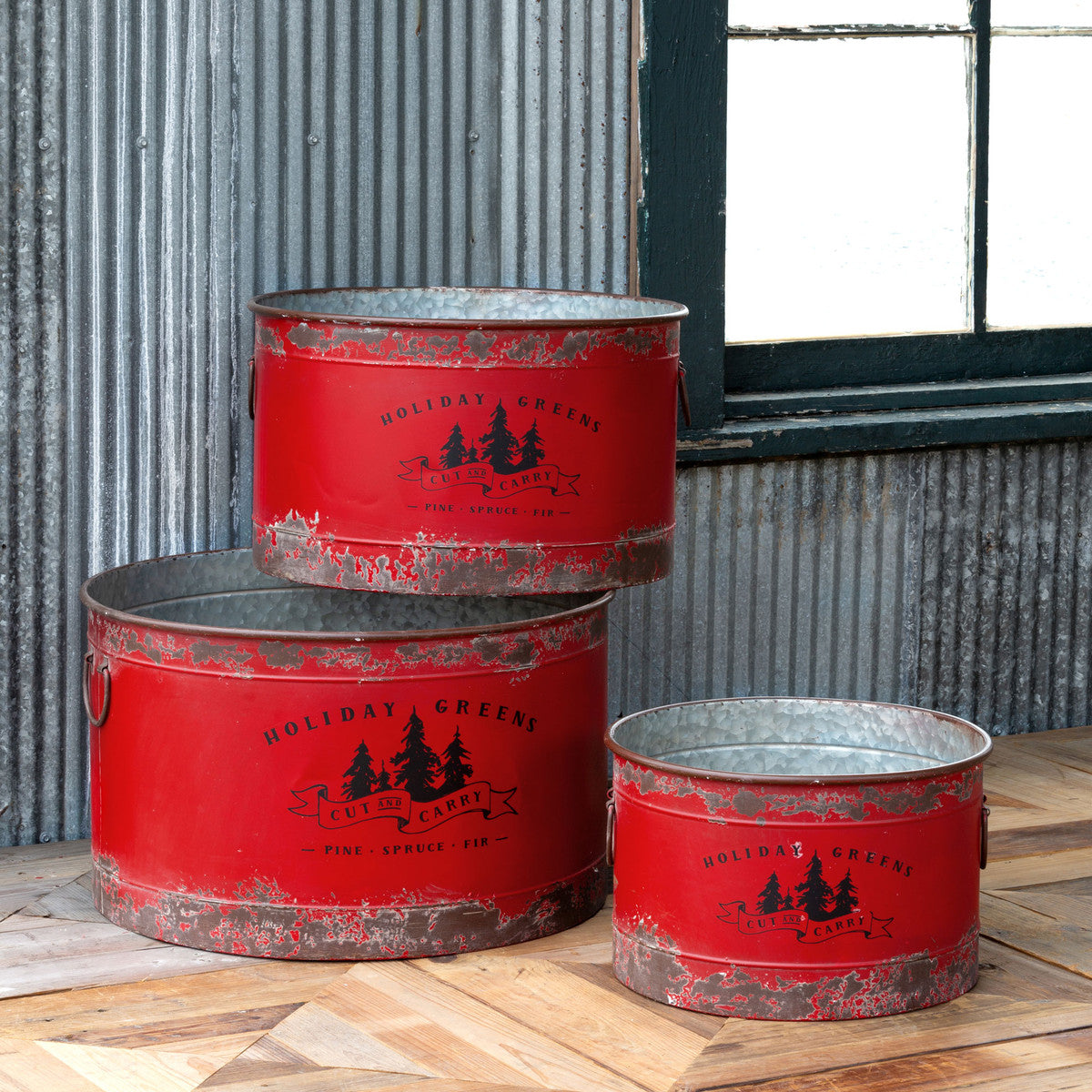 Antique Red Metal Tree Pots - Set of 3