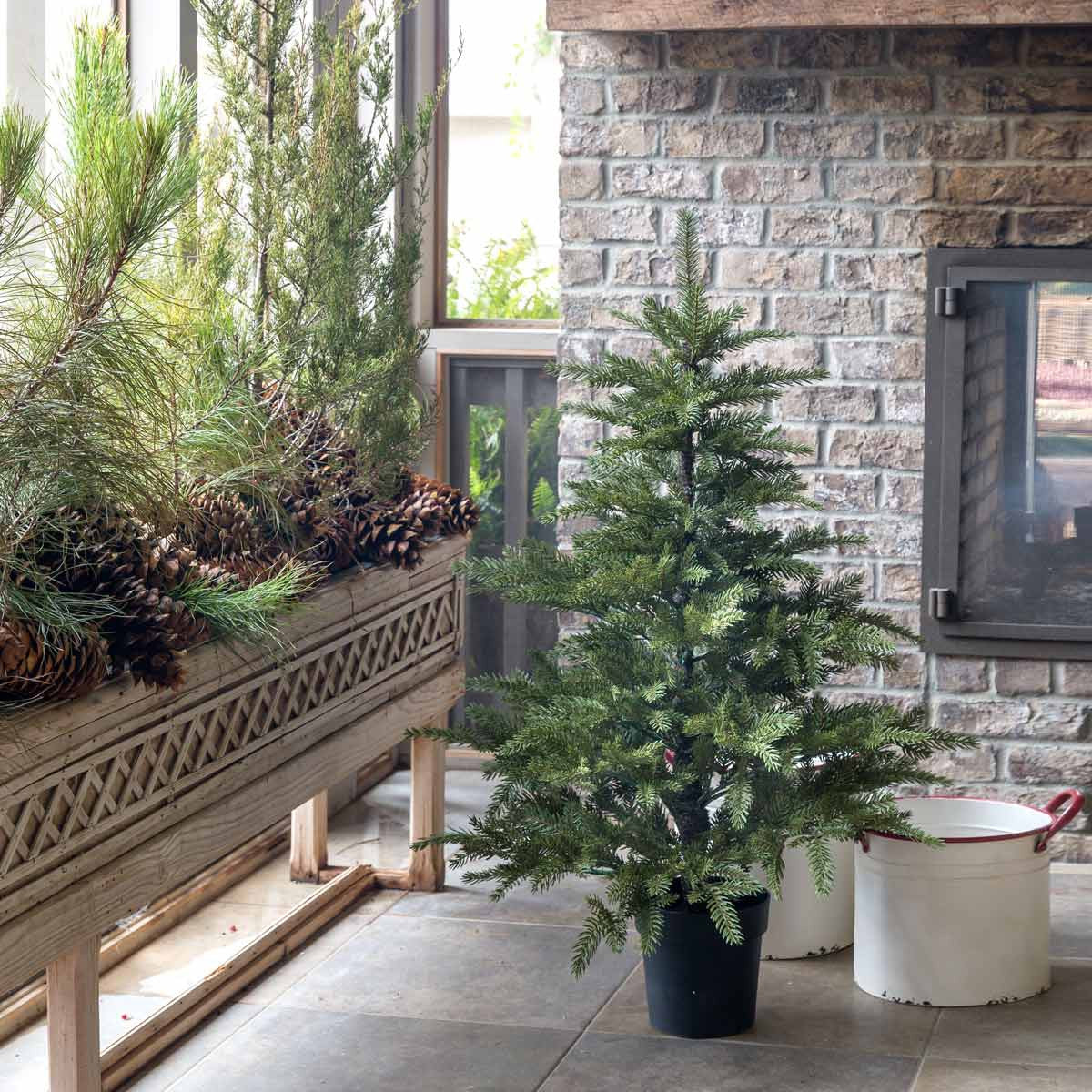 4' Potted Faux Fir Tree
