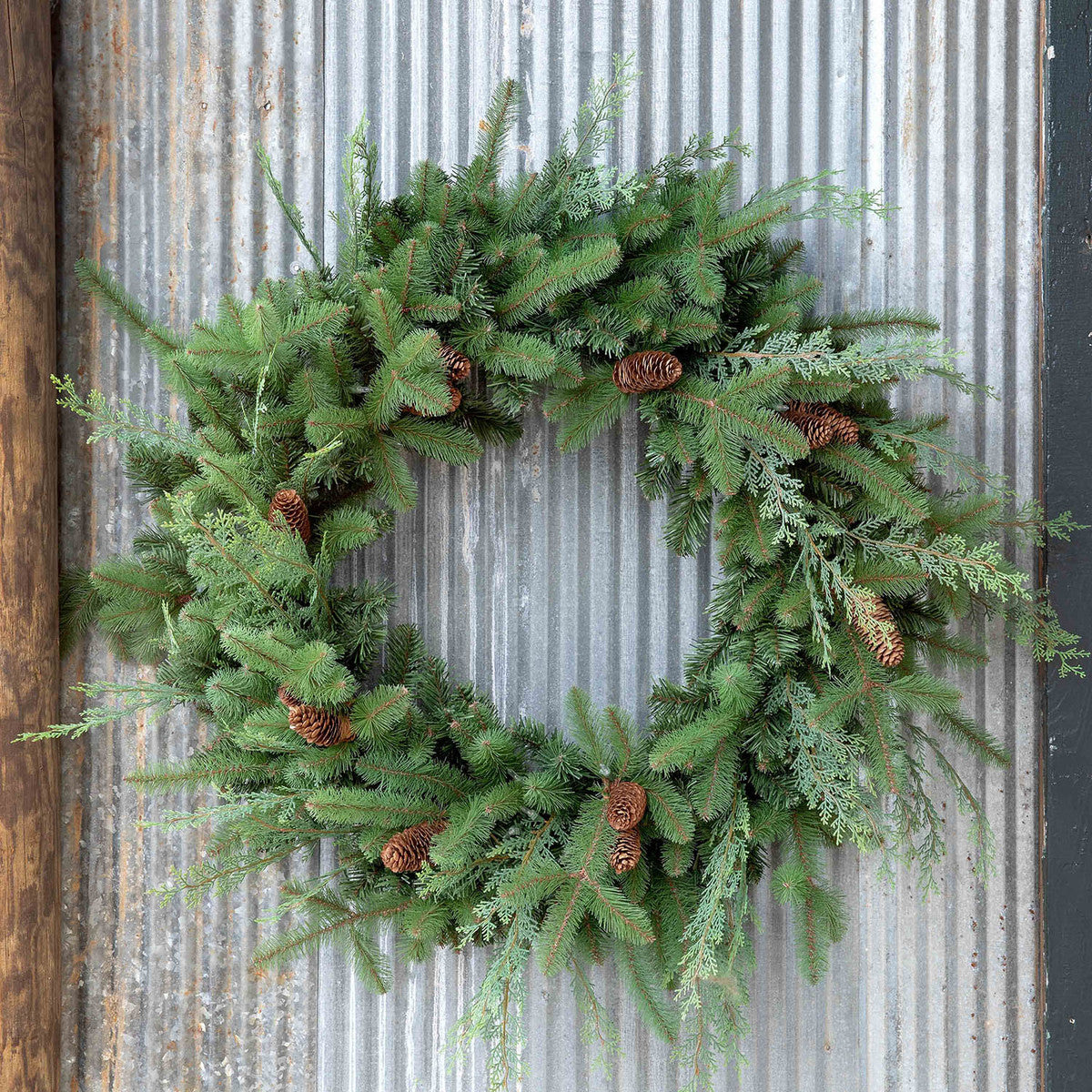 Mixed Evergreen Wreath with LED