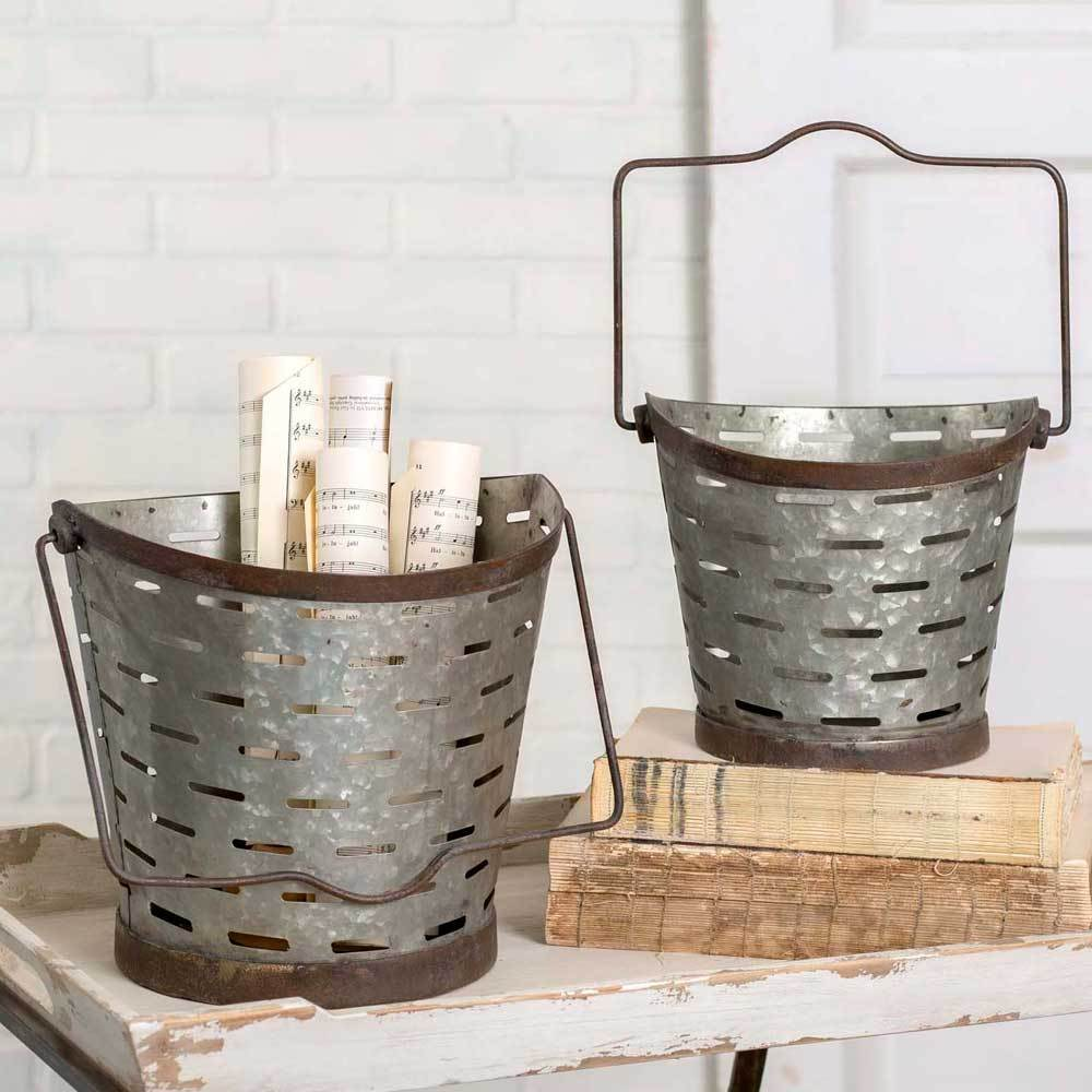 Set of Rustic Farmhouse Olive Buckets