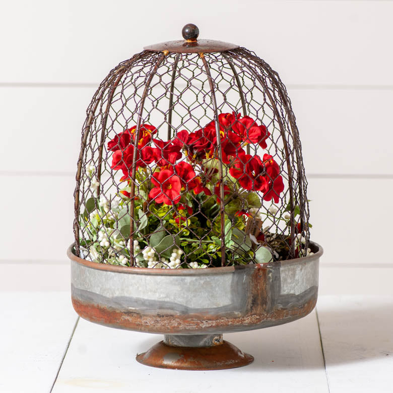 Rustic Wire Dome Planter