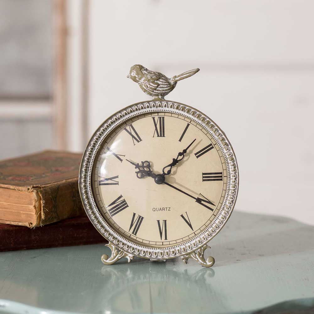 Charming Vintage White Songbird Clock
