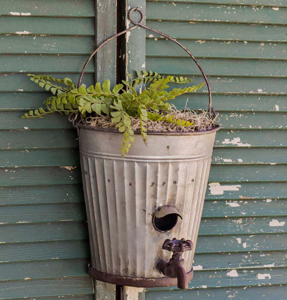 Hanging Farm Bucket Birdhouse Planter