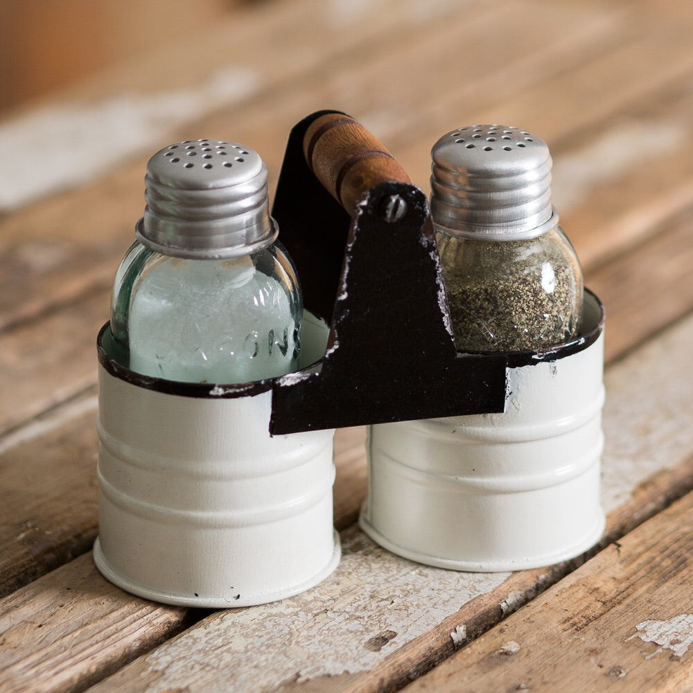 Two Sets - Lovely Vintage White Salt & Pepper Caddy