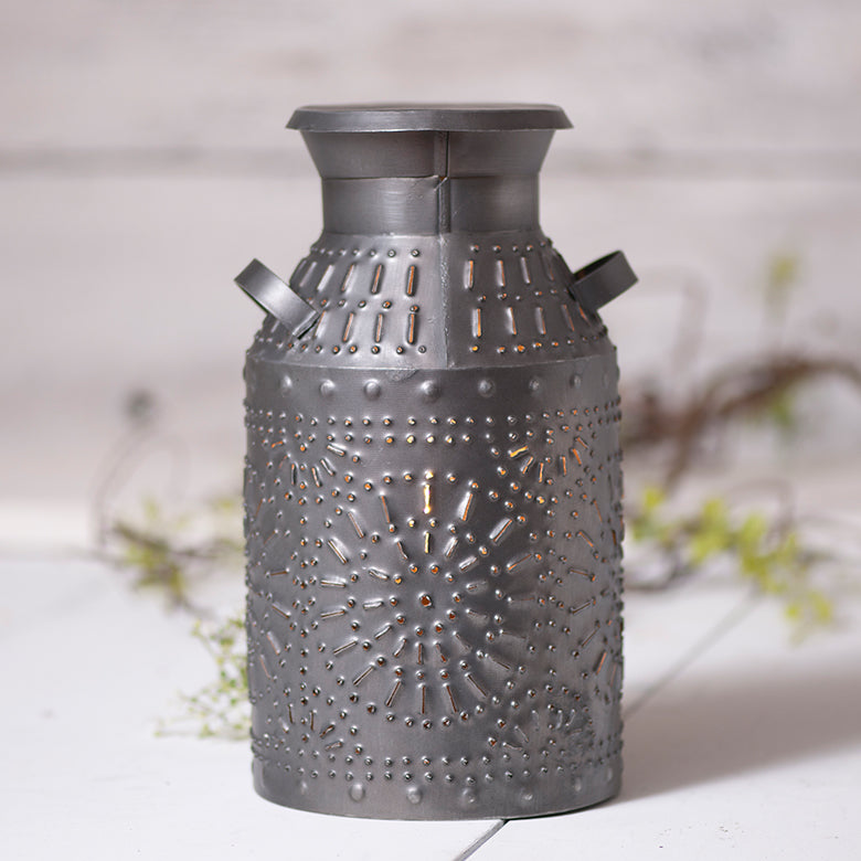 Antique Tin Milk Can Accent Light