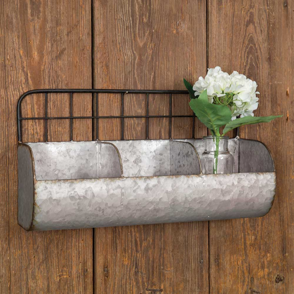 Rustic 3 Section Wall Bin