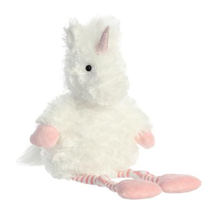Stella the Unicorn Stuffed Animal Plush Toy Fuzzy White with Black Eyes, Pink Horn, Hands, and Feet, and Pink and White Striped Legs