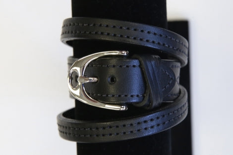 Leather Wrap Stirrup Bracelet Black