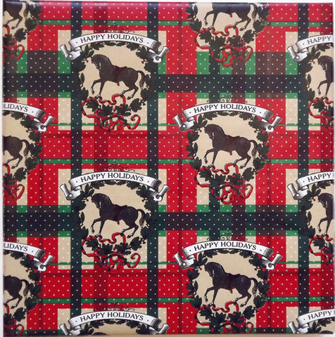 Happy Holiday Gift Wrap Red and Green Plaid with Black Horse