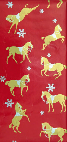 Gold Horse on Red Background with Snowflakes Gift Wrap