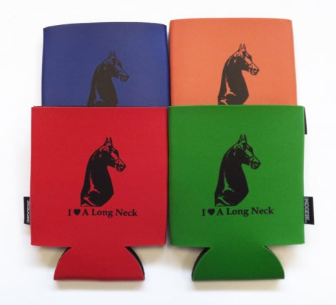 I Love A Long Neck Koozie with Saddlebred Image Blue Orange Red Green